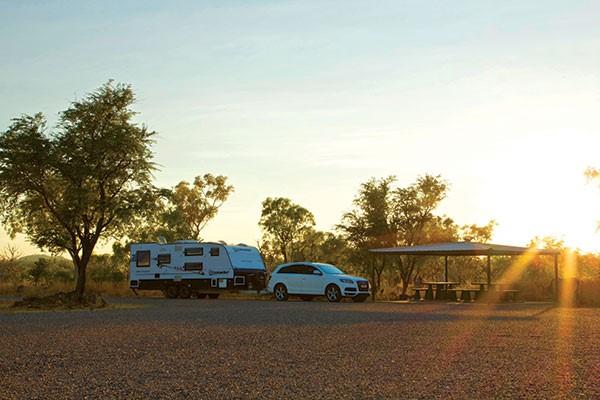 Caravan camping at a roadside stop in the Kimberley WA