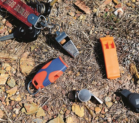 We tested the AMK SOL Fox 40 Sharx Emergency Whistle against four other whistles used by the Scouts,
