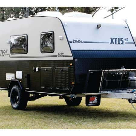 The MDC XT-15 HR offers a large camper-trailer size external kitchen in a sturdy offroad caravan for