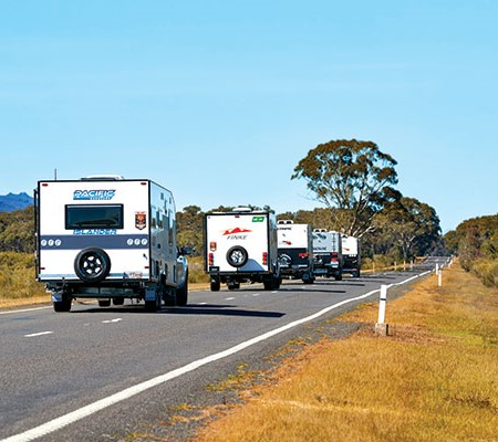 Caravan convoy on the road