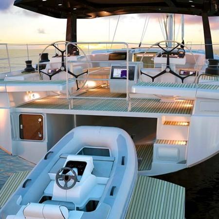 Stern of Hanse 675 sailboat.