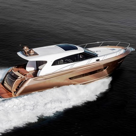 The gleaming gold Elandra 53 hull number two will exhibit at the 2015 Sanctuary Cove boat show.