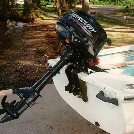 Mercury 2.5 four-stroke portable outboard motor.