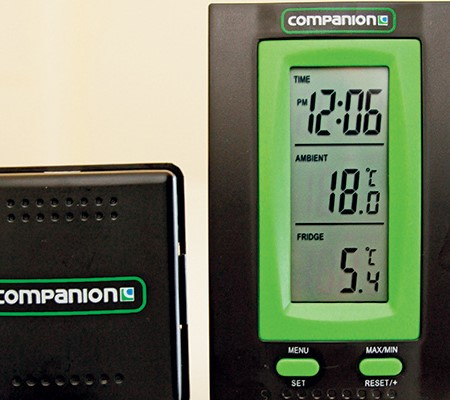 This handy little gadget which not only displays the fridge temperature but also shows the ambient t