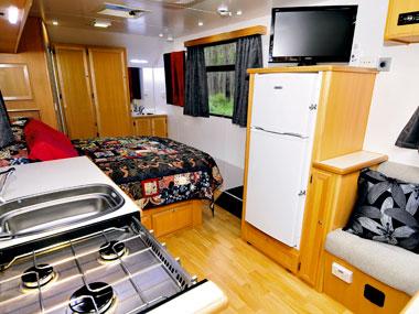 spacious lounge and interior in the Trakmaster Nullarbor caravan