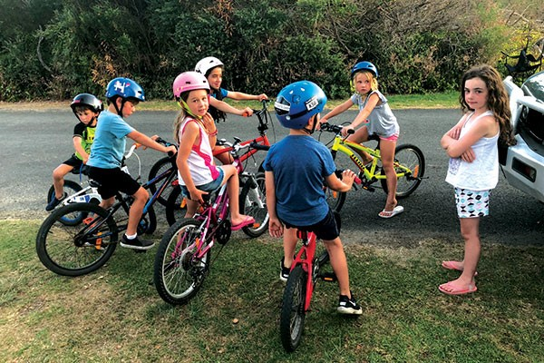 Kids on bikes in Inverloch Victoria