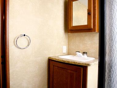 bathroom mirror in the CruiserRV Fun Finder X caravan