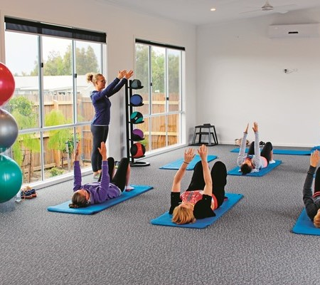 Pilates class at BIG4 Bellarine Holiday Park.