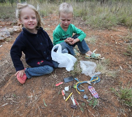One morning the kids were eager to roam around the campground to pick up the rubbish and before we k