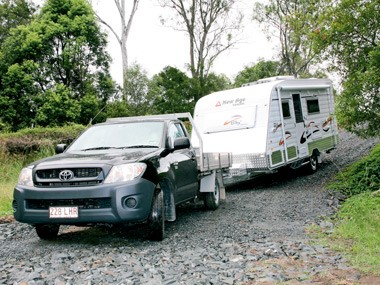 The New Age Caravans Bilby on the road.