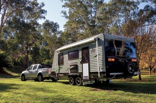 The Titanium Caravans Skylander. Heaps of comforts abound inside.