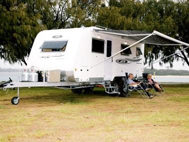 SLR 1900 Premium Off Road caravan set up for a stay.