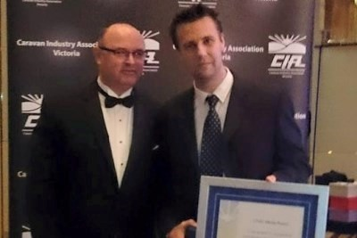 Caravan World's Max Taylor won the Media Award, pictured here with CW general sales manager Grant Ma