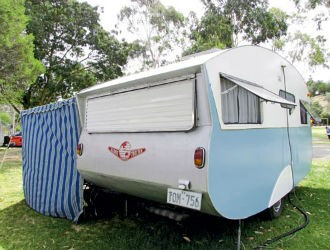 The 14ft 1965 Globetrotter caravan has marine-ply sides and aluminium on the front, rear and over th