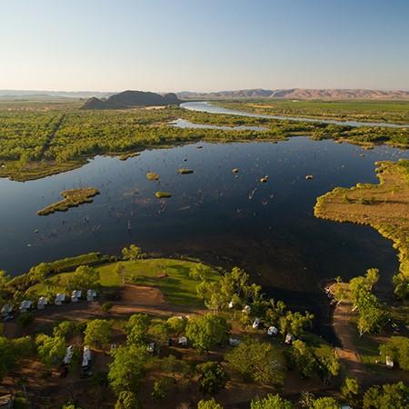 Award-winning Kimberleyland Holiday Park boasts waterfront views of Lake Kununurra.