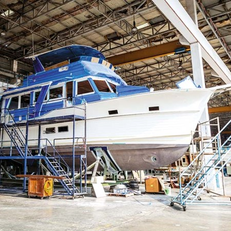 Almost ready to begin its interior fitout, this Grand Banks 54 EU is the same model as tested by Tra