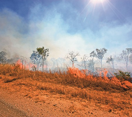 Fire fuelled by spinifex is one of the risks of travelling off the beaten track