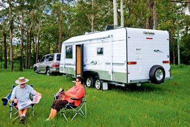 5 Star Caravans Premier MKII and Toyota LandCruiser camoing out north of Brisbane.