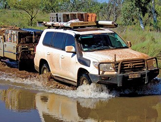 4x4 and camper trailer river crossing