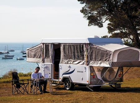 The Jayco Swan camper. Very friendly to wallets.