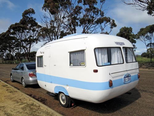 The 1959 Sunliner caravan was towed across the Nullarbor with a 2004 model four-cylinder Toyota Camr