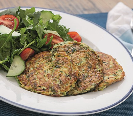 These fritters could be served with either eggs or sausages for a hearty breakfast or with a simple