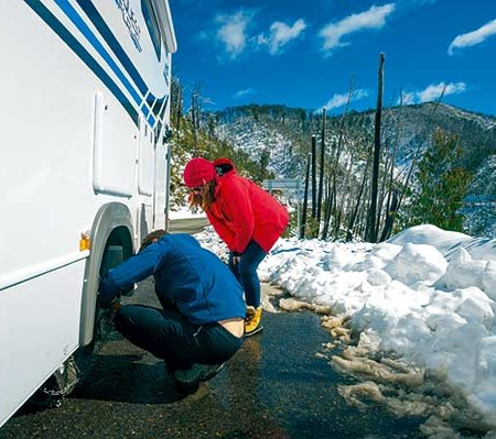 Jayco motorhome snow travel