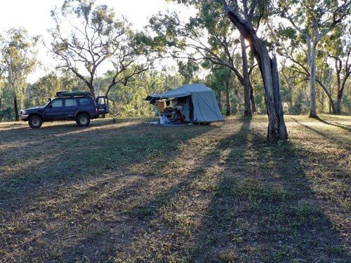Position your trailer so the shade falls across the campsite in the mid-afternoon — in Australia, th