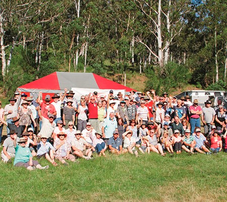 A large assembly of proud camper owners gathers for a week of fun, relaxation and offroad excitement