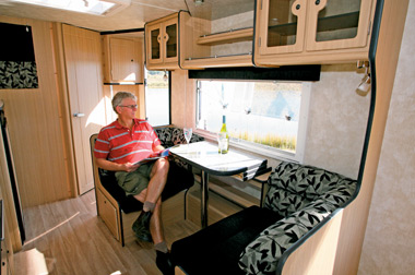 Another view of the Jurgens Lunagazer J2405 caravan lounge and dinette