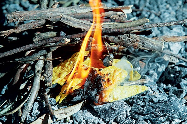 Corn chips will burn freely, are easy to light and a handful will start a fire with ease.