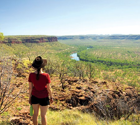 Woman looking over Victoria River NT