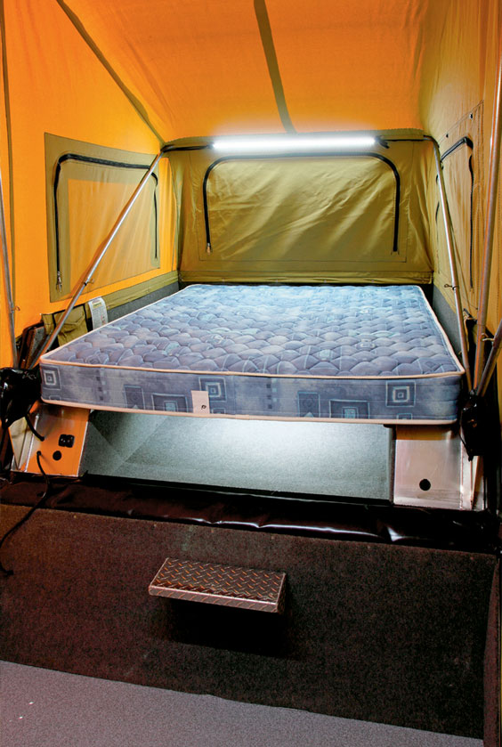 optional 12v lights around bed on the desert edge outback camper trailer.