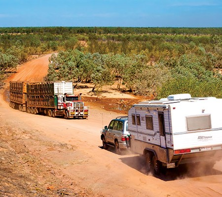 Bushtracker caravan on the road in the outback