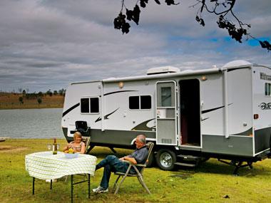 Forest River RV Wildwood caravan set up outside