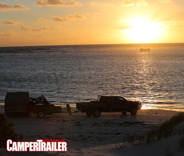 Sunset at Lancelin, WA. Or just another day at the Camper Trailer Australia 'office'.