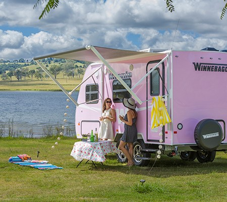 The Winnebago 'Pink Minnie' is the perfect host for the 2015 NBCF Breakfast Tour, kicking off Septem