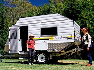 Blurring the line between camper trailers and caravans. That's the Desert Sky Warrior.