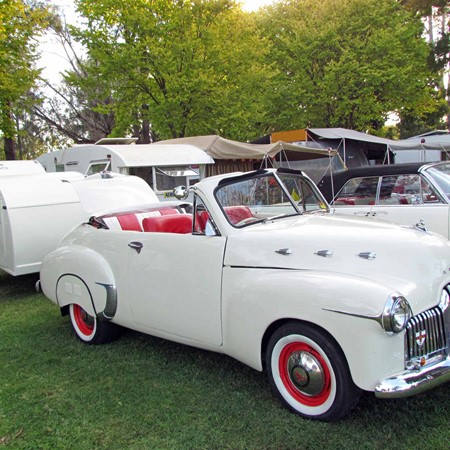 Holden never made an FX convertible, but you may see one towing a 1950s Sportsman teardrop caravan.