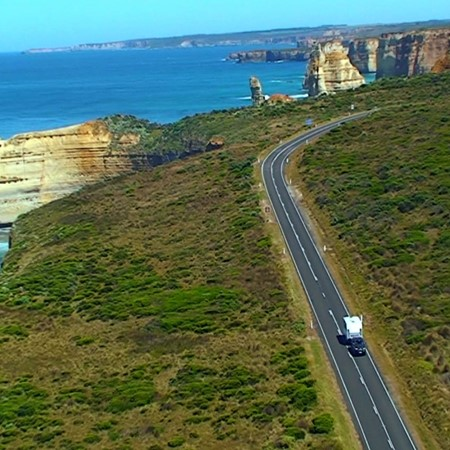 The Paramount Caravans Classic towed on the Great Ocean Road.