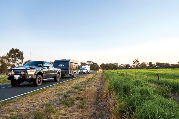 Caravan convoy on the road with Dreamseeker at the front at Best Aussie Vans 2017