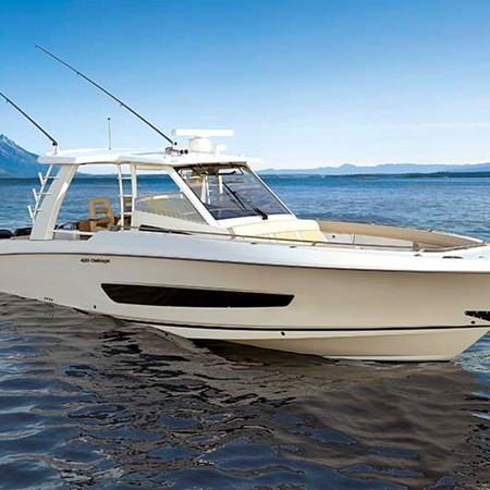 The new Boston Whaler 420 Outrage packs four 300hp Verado outboard motors.
