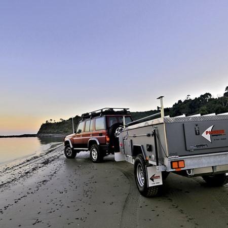 Pioneer Argyle SE 4x4 camper trailer on the road.