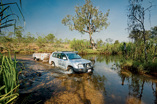 Car crossing the King Edward River