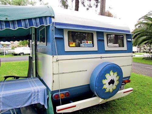 1956 vintage caravan blue