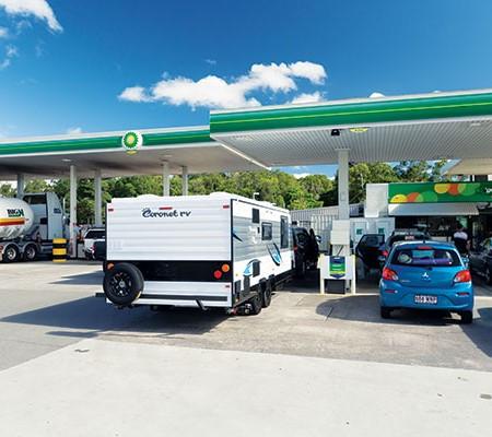 Coronet RV at the petrol station
