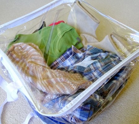 The clear plastic zippered bags in which blankets, doonas and mattress toppers are sold are ideal fo
