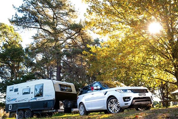Living edge caravan Bellagio towed by a 4WD