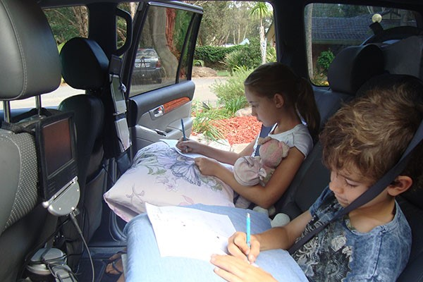 Schoolwork can be done while travelling in the car so that playtime is maximised at camp.