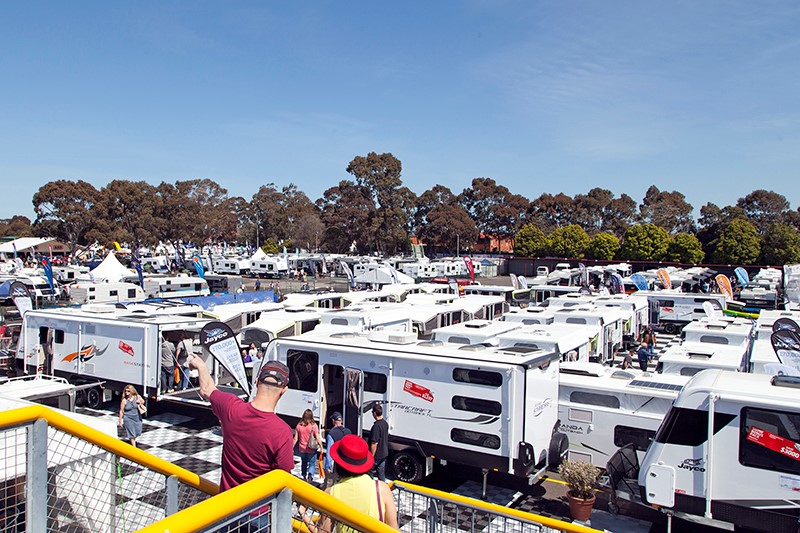 RVs as far as the eye can see at Melbourne Leisurefest 2016.
